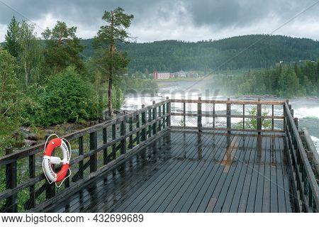 Stordorsen, Sweden - 08.15.2021: Storforsen, Wild, Huge Waterfall On Pite River In Swedish Arctic On