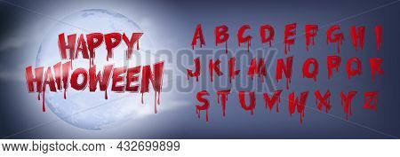 Happy Halloween Scary Bloody Typographic Design Text And Full Moon
