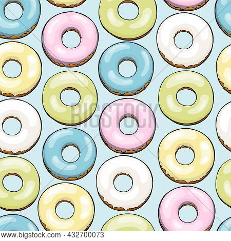 Pattern With Colorful Glazed Donuts. Seamless Vector Background.