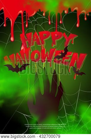 Happy Halloween Scary Zombie Hand Scratch The Wall Spider Web And Bloody Typographic Design Text