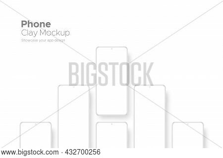 Clay Smartphones With Blank Screens, Isolated On White Background. Mockup For Showing Your Apps Desi