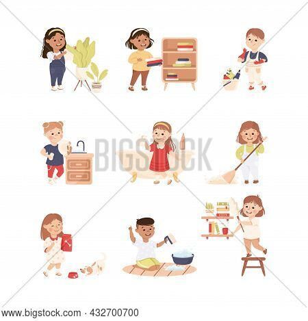 Cute Kids Doing Housework And Housekeeping Washing The Dishes And Dusting Vector Set