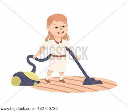 Cute Girl Vacuum Cleaning The Floor Doing Housework And Housekeeping Vector Illustration