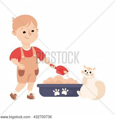 Cute Boy Cleaning Litter Box Doing Housework And Housekeeping Vector Illustration