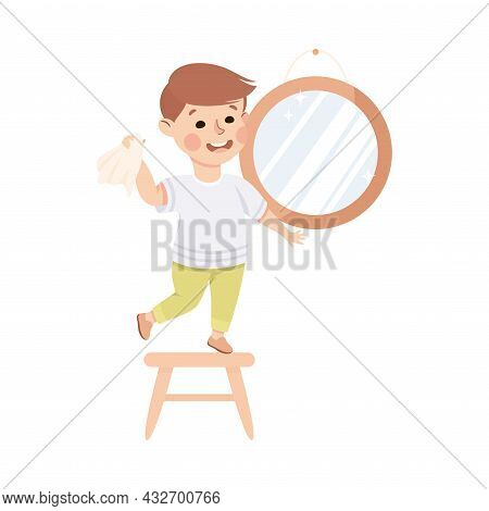 Cute Boy Doing Housework And Housekeeping Standing On Chair Wiping Mirror Vector Illustration
