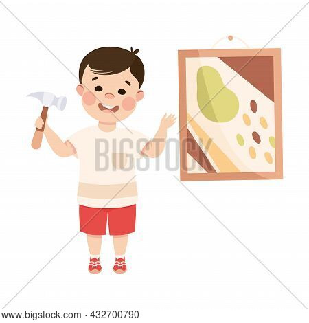 Cute Boy With Hammer Doing Housework And Housekeeping Hanging Picture On The Wall Vector Illustratio