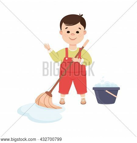 Cute Boy Doing Housework And Housekeeping Mopping The Floor Vector Illustration