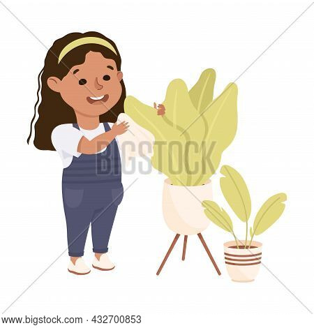 Cute Girl Doing Housework And Housekeeping Dusting Leaves Of Houseplant Growing In Pot Vector Illust