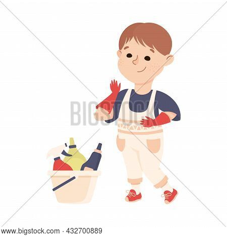 Cute Boy Doing Housework And Housekeeping Wearing Gloves And Using Detergents Vector Illustration