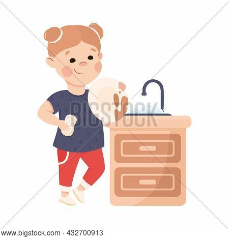 Cute Girl Doing Housework And Housekeeping Washing The Dishes In Kitchen Sink Vector Illustration