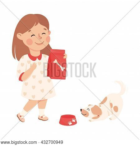 Cute Girl Feeding The Dog Doing Housework And Housekeeping Vector Illustration