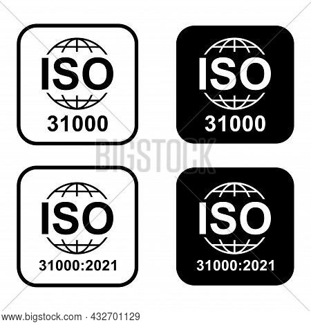 Set Of Iso 31000 Icon. Risk Management. Standard Quality Symbol. Vector Button Sign Isolated On Whit