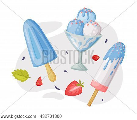 Ice-cream Bowl And Eskimo With Sprinkle As Frozen Dessert And Snack Vector Composition
