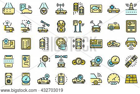 Autonomous Car Icons Set. Outline Set Of Autonomous Car Vector Icons Thin Line Color Flat Isolated O
