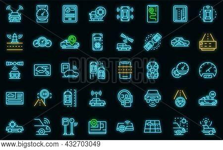 Autonomous Car Icons Set. Outline Set Of Autonomous Car Vector Icons Neon Color On Black