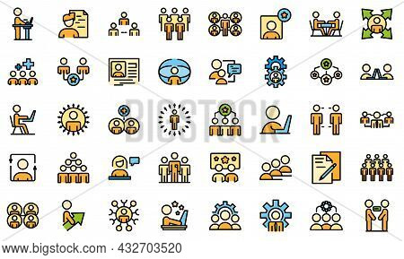 Colleague Icons Set. Outline Set Of Colleague Vector Icons Thin Line Color Flat Isolated On White