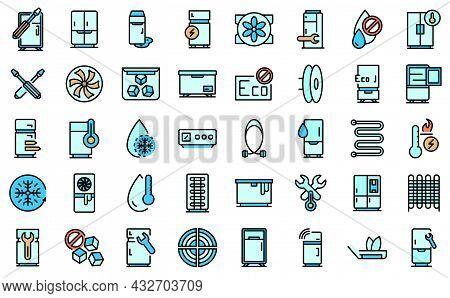Refrigerator Repair Icons Set. Outline Set Of Refrigerator Repair Vector Icons Thin Line Color Flat