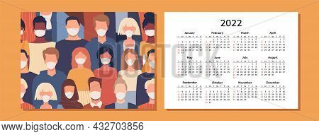 Horizontal Calendar 2022. People. Happy New Year. Wall, Desk, Table Or Pocket Calendar With People O