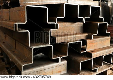 Metalworking At A Factory, Steel Billets Cut By Laser And Bent On A Bending Machine, Close-up
