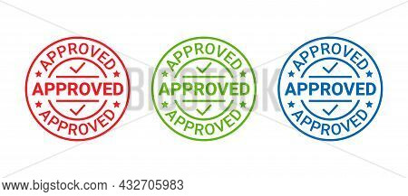 Approved Stamp. Vector. Quality Mark Approve. Approval Permit Badge, Label. Accepted Round Sticker.