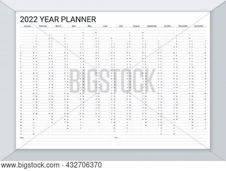 2022 Year Calendar Planner. Desk Calender Template. Vector. Annual Daily Organizer. Agenda Diary. We
