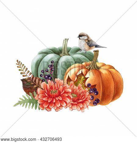 Thanksgiving Autumn Pumpkin Decor. Watercolor Illustration. Hand Drawn Rustic Thanksgiving Festive D