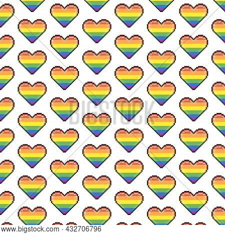 Simple Vector Pixel Art Multicolor Endless Rainbow Lgbt Colors Hearts Pattern. Seamless Pattern Of L