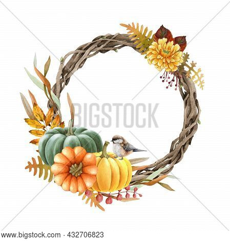 Thanksgiving Floral Wreath With Pumpkins. Watercolor Illustration. Hand Drawn Round Decor With Pumpk