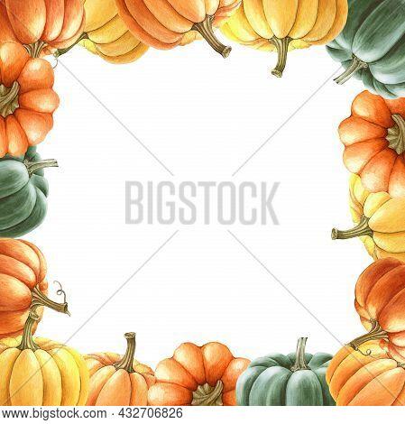 Thanksgiving Pumpkin Square Frame. Watercolor Illustration. Hand Drawn Rustic Festive Decor From Ora