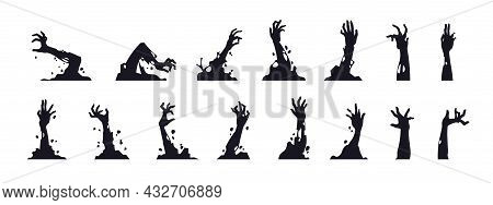 Zombie Hand Silhouettes. Black Creepy Monster Arms From Graves For Halloween Posters. Cartoon Cadave