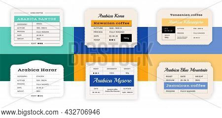 Coffee Label. Minimalistic Hipster Sticker For Arabica Packaging. Classic Old Stamps With Text And B