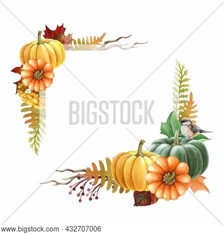 Thanksgiving Pumpkin Floral Frame. Watercolor Illustration. Hand Drawn Rustic Festive Decor With Pum