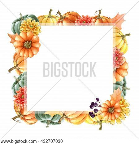 Thanksgiving Pumpkin Floral Frame. Watercolor Illustration. Hand Drawn Rustic Festive Decor With Bri