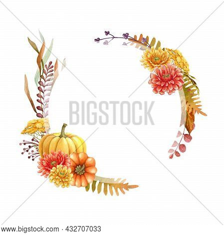 Thanksgiving Pumpkin Floral Round Frame. Watercolor Illustration. Hand Drawn Rustic Festive Decor Fr