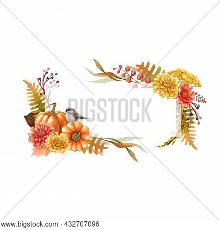Thanksgiving Pumpkin Floral Frame With Bird. Watercolor Illustration. Hand Drawn Festive Decor From