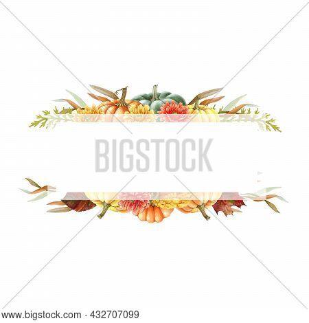 Thanksgiving Pumpkin Floral Frame. Watercolor Illustration. Hand Drawn Festive Decor From Pumpkins,
