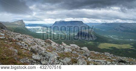 Vast Arctic Landscape Of Sarek National Park In Swedish Lapland With Rapa Valley, Tjahkelij, Skierff