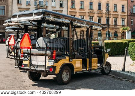 An Electric Open Car For Transportation Of Tourists, Coronavirus Covid-19 Lockdown, Empty Street In
