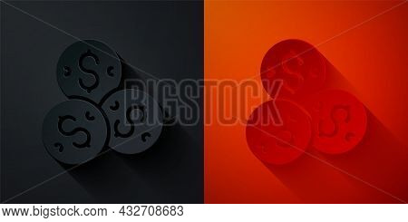 Paper Cut Casino Chip With Dollar Symbol Icon Isolated On Black And Red Background. Casino Gambling.
