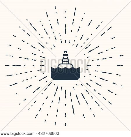 Grey Floating Buoy On The Sea Icon Isolated On Beige Background. Abstract Circle Random Dots. Vector