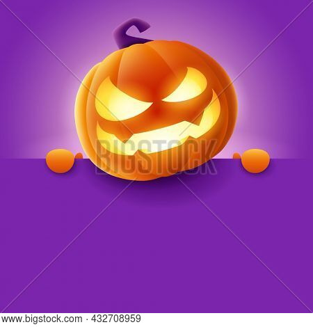 3D illustration of cute glowing Jack O Lantern orange pumpkin character with big blank signboard on purple background. Wide copy space for design.