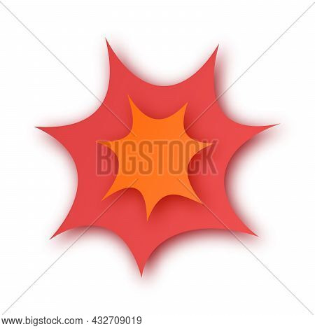 Boom! Paper Cut Speech Bubble. Background With Paper Cut Explosion. Vector Illustration