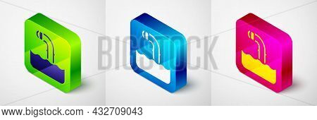 Isometric Periscope In The Waves Above The Water Icon Isolated On Grey Background. Square Button. Ve