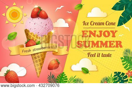 Realistic Detailed 3d Ice Cream With Strawberry Enjoy Summer Ads Banner Concept Poster Card. Vector
