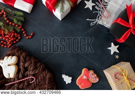 Winter Holidays Decor. Xmas Frame Background. Christmas Eve Celebration. Gift Box Gingerbread Biscui