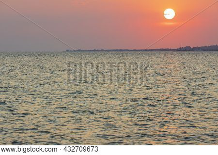 Gorgeous View On Sunset On Sea On Summer Day. Sea And Sky Converging On Horizon. Greece.