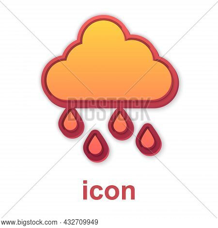 Gold Cloud With Rain Icon Isolated On White Background. Rain Cloud Precipitation With Rain Drops. Ve