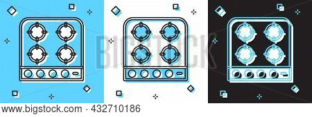 Set Gas Stove Icon Isolated On Blue And White, Black Background. Cooktop Sign. Hob With Four Circle