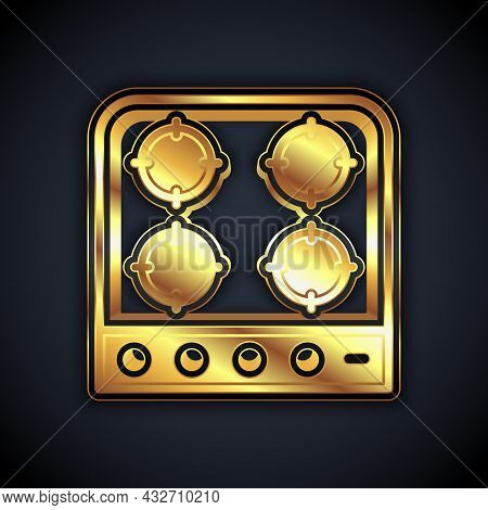 Gold Gas Stove Icon Isolated On Black Background. Cooktop Sign. Hob With Four Circle Burners. Vector