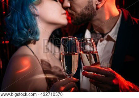 Romantic Love. Couple Affection. Happy Anniversary. Enjoying Moment. Beloved Man And Woman Kissing W